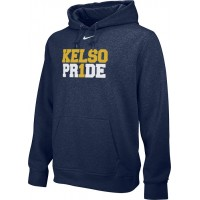 Kelso Youth Baseball 15: Youth-Size - Nike Team Club Men's Fleece Training Hoodie - Navy With Choice of Logo