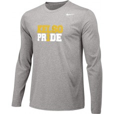Kelso Youth Baseball 10: Youth-Size - Nike Team Legend Long-Sleeve Crew T-Shirt - Gray With Choice of Logo