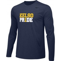 Kelso Youth Baseball 09: Youth-Size - Nike Team Legend Long-Sleeve Crew T-Shirt - Navy With Choice of Logo