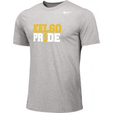 Kelso Youth Baseball 02: Adult-Size - Nike Team Legend Short-Sleeve Crew T-Shirt - Gray With Choice of Logo
